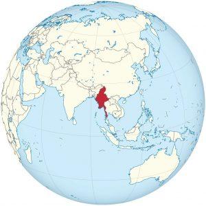 Birmanie sur une carte de l'Asie