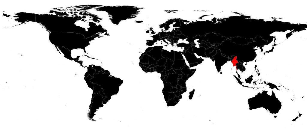 Birmanie sur une carte du monde