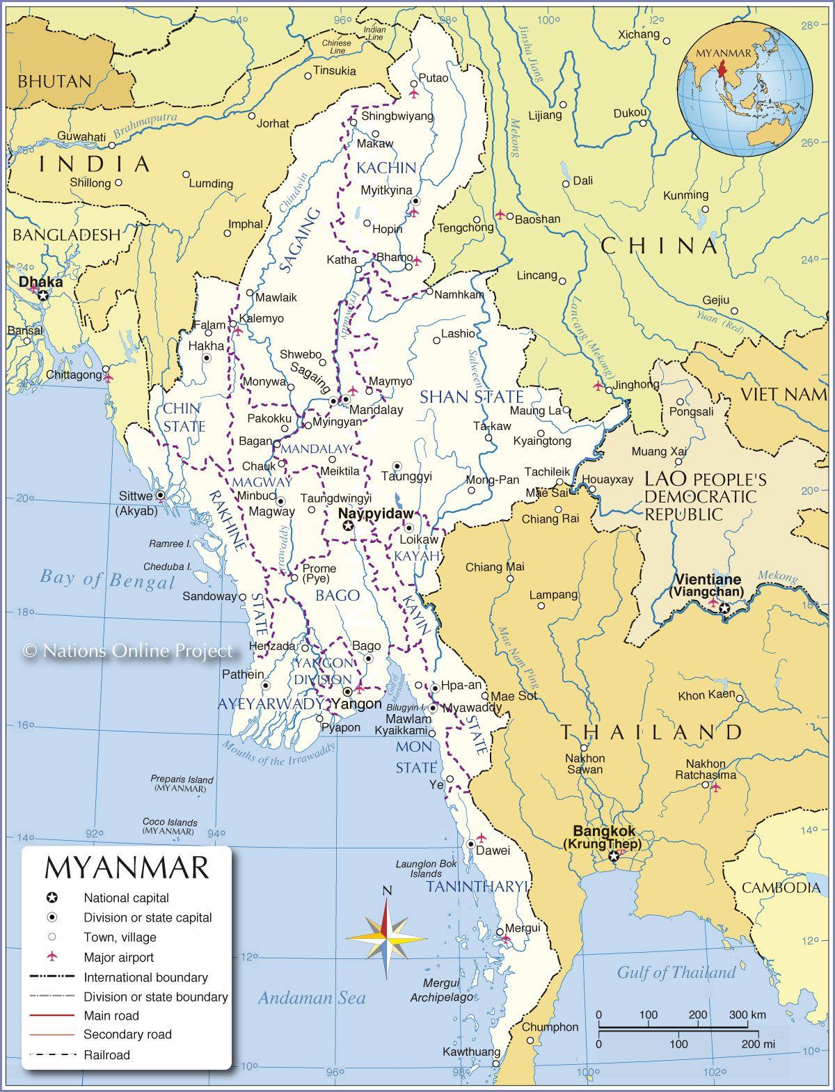 Birmanie carte