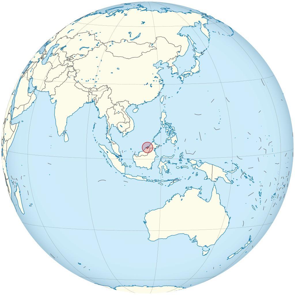 Brunei sur une carte de l'Asie