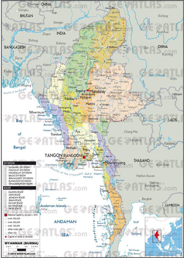 Carte administrative de la Birmanie