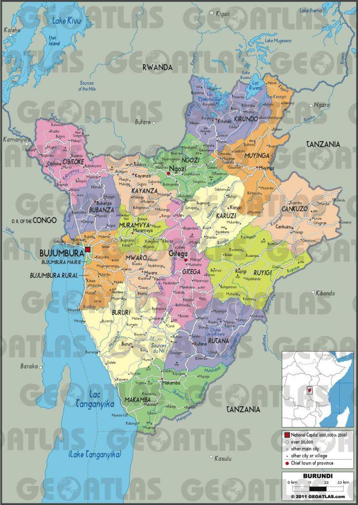Carte administrative du Burundi