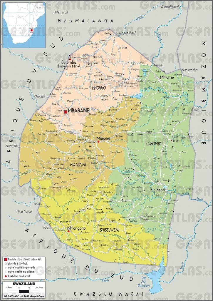 Carte administrative du Swaziland