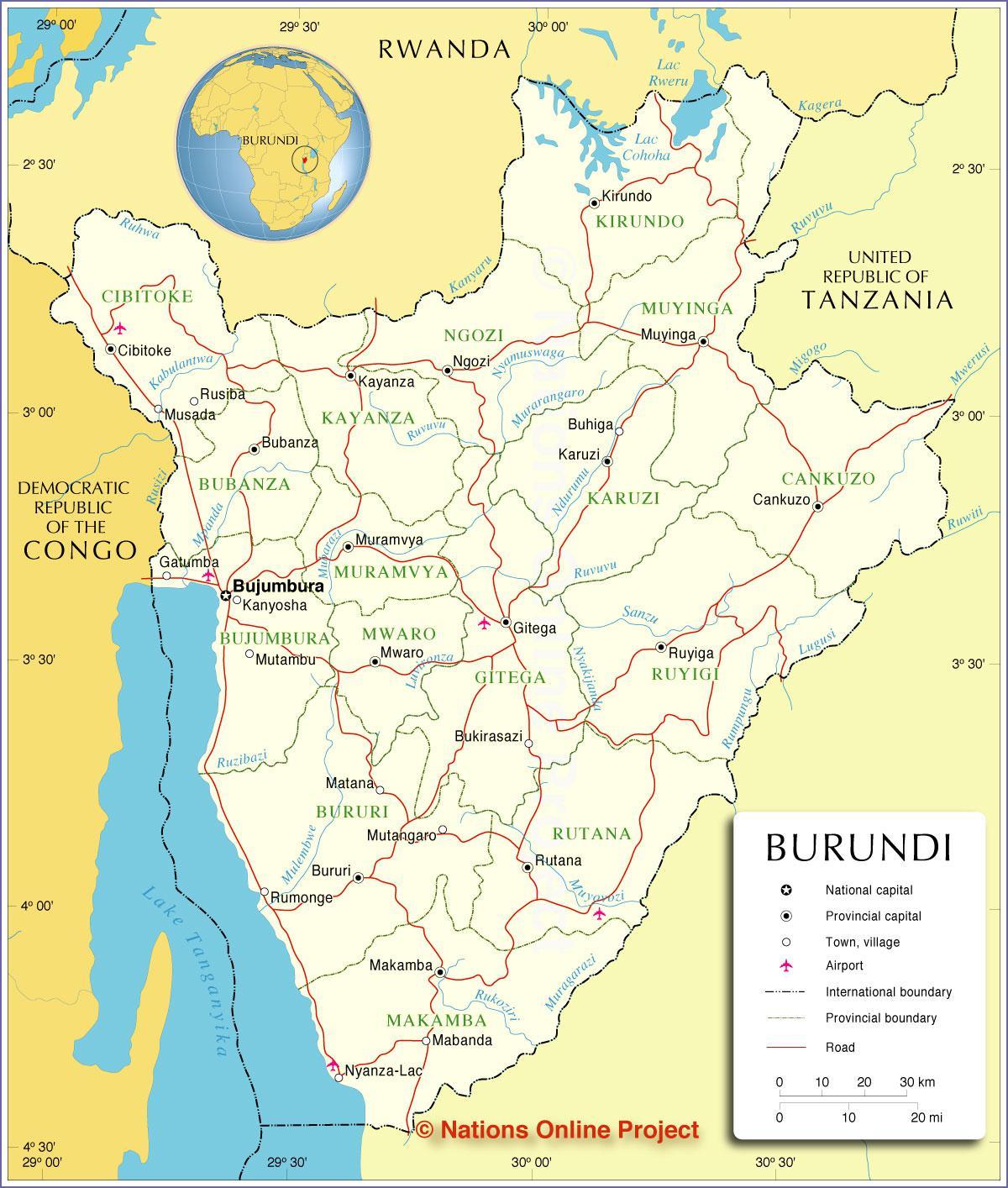 Carte du Burundi