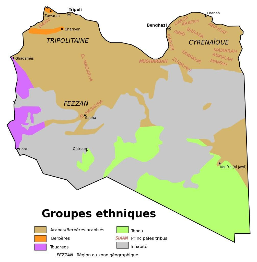 Carte ethnique de la Libye