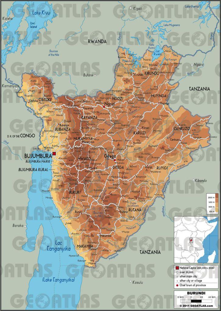 Carte géographique du Burundi