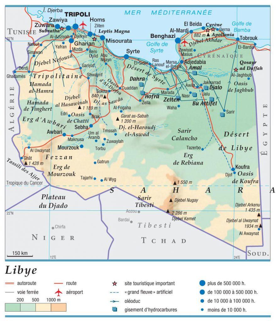 Carte géographique de la Libye