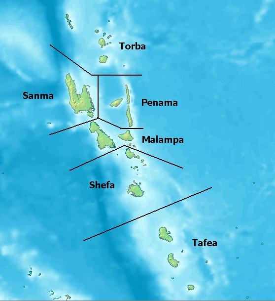 Carte des régions Vanuatu