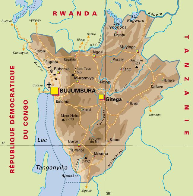 Carte politique du Burundi