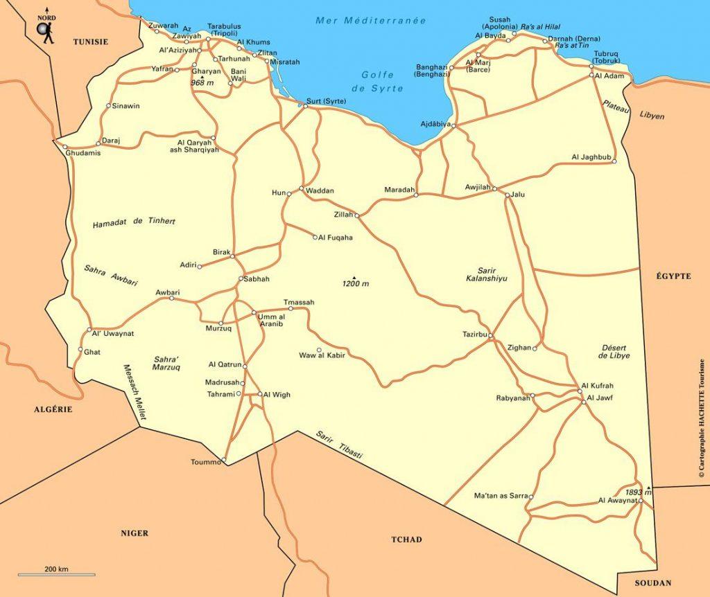 Carte politique de la Libye