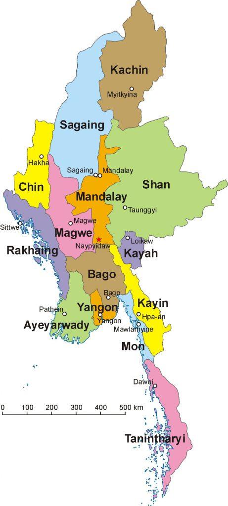 Carte des régions de la Birmanie