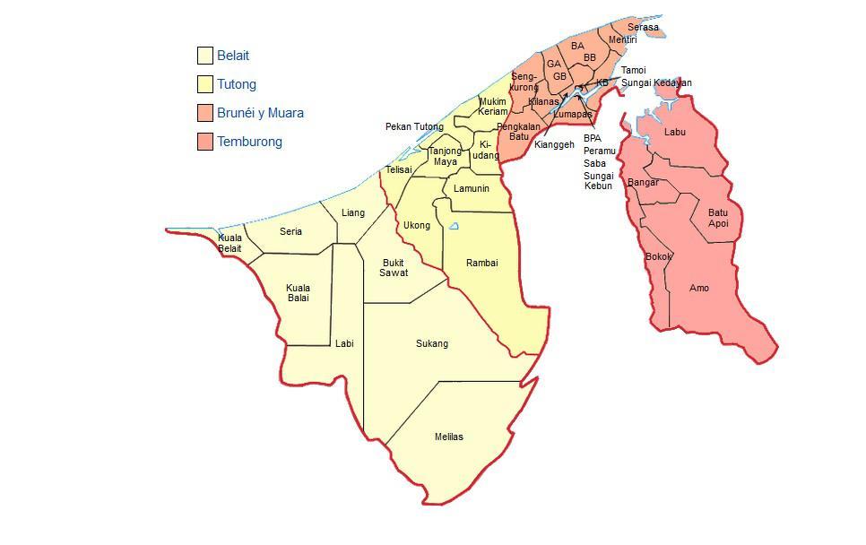 Carte des régions de Brunei