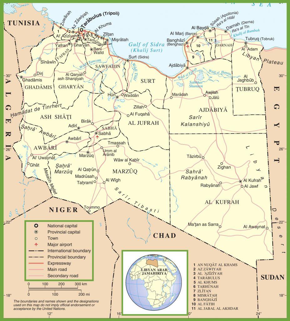Carte des régions de la Libye