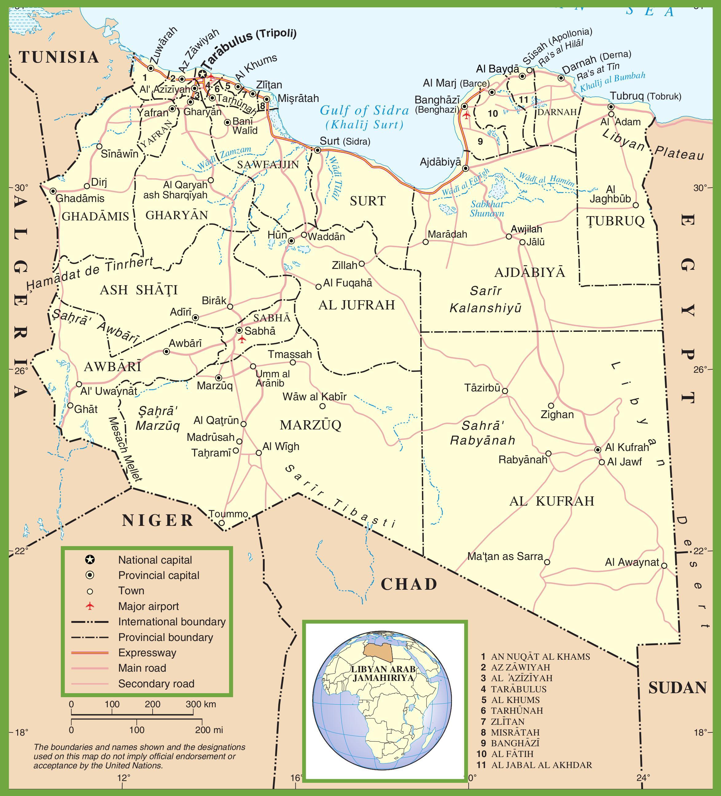 Carte de la Libye   Plusieurs cartes du pays en Afrique