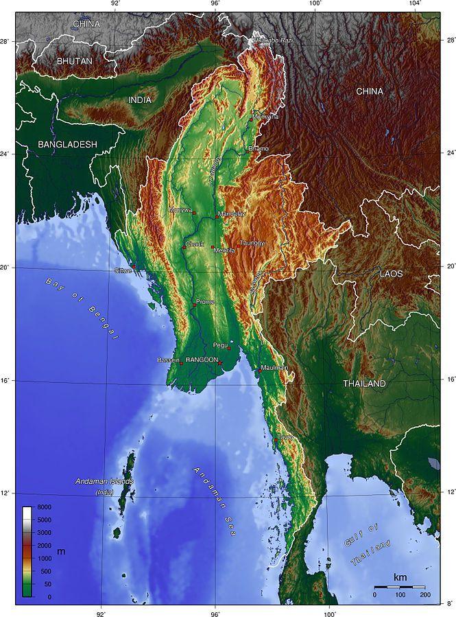 Carte du relief de la Birmanie