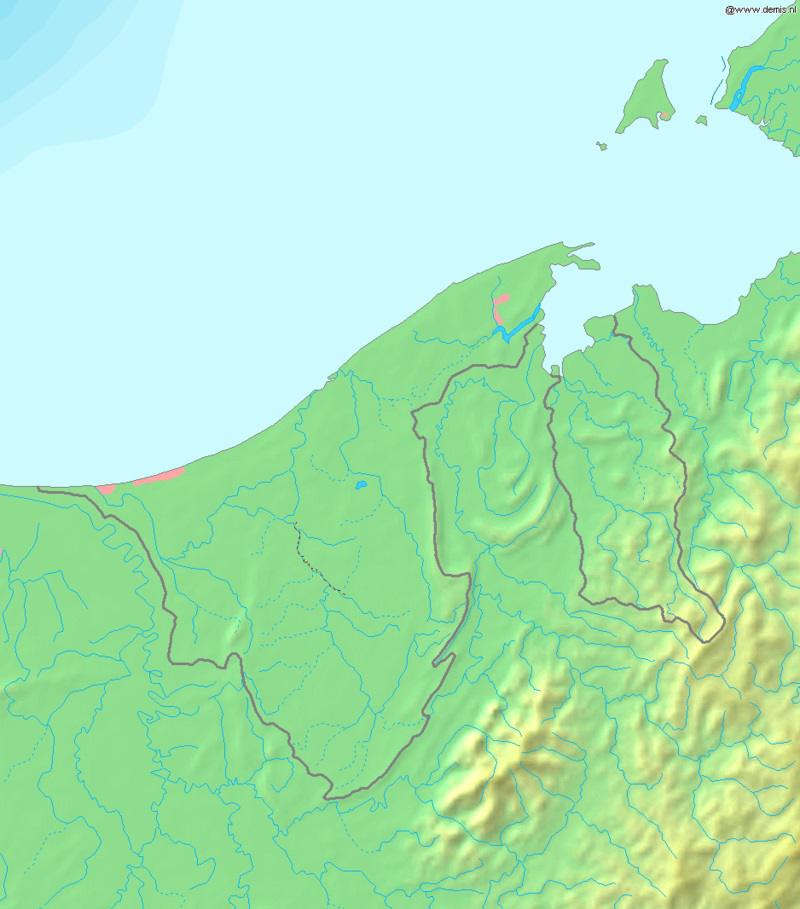 Carte du relief de Brunei
