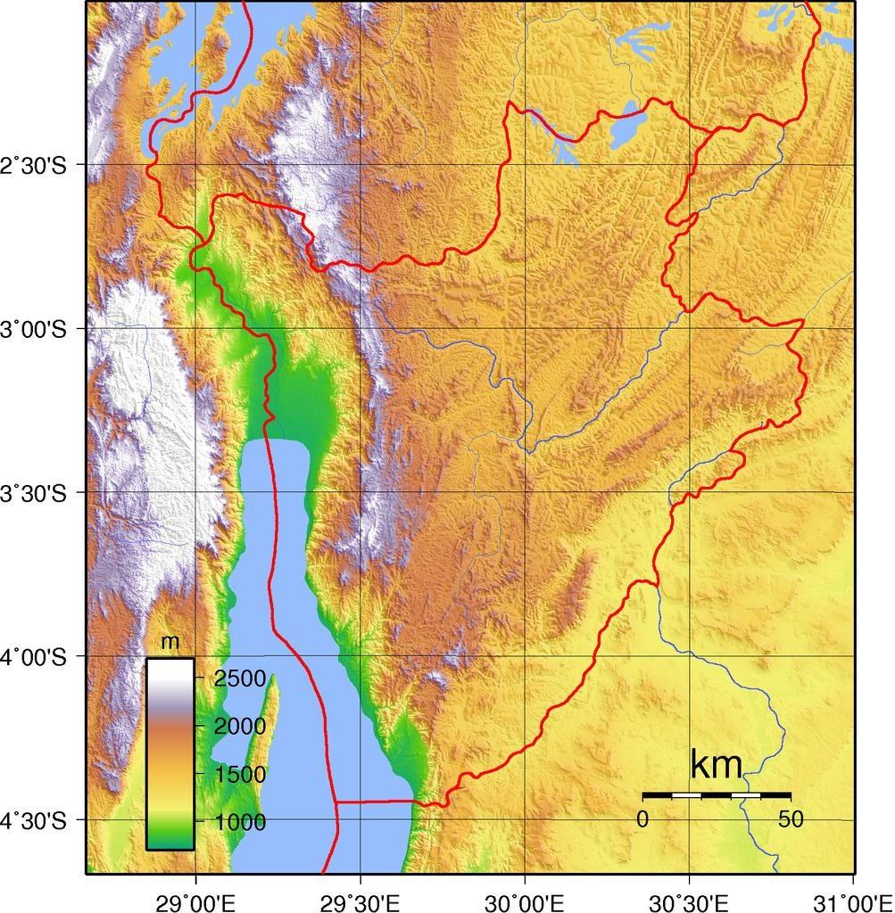 Carte du relief du Burundi