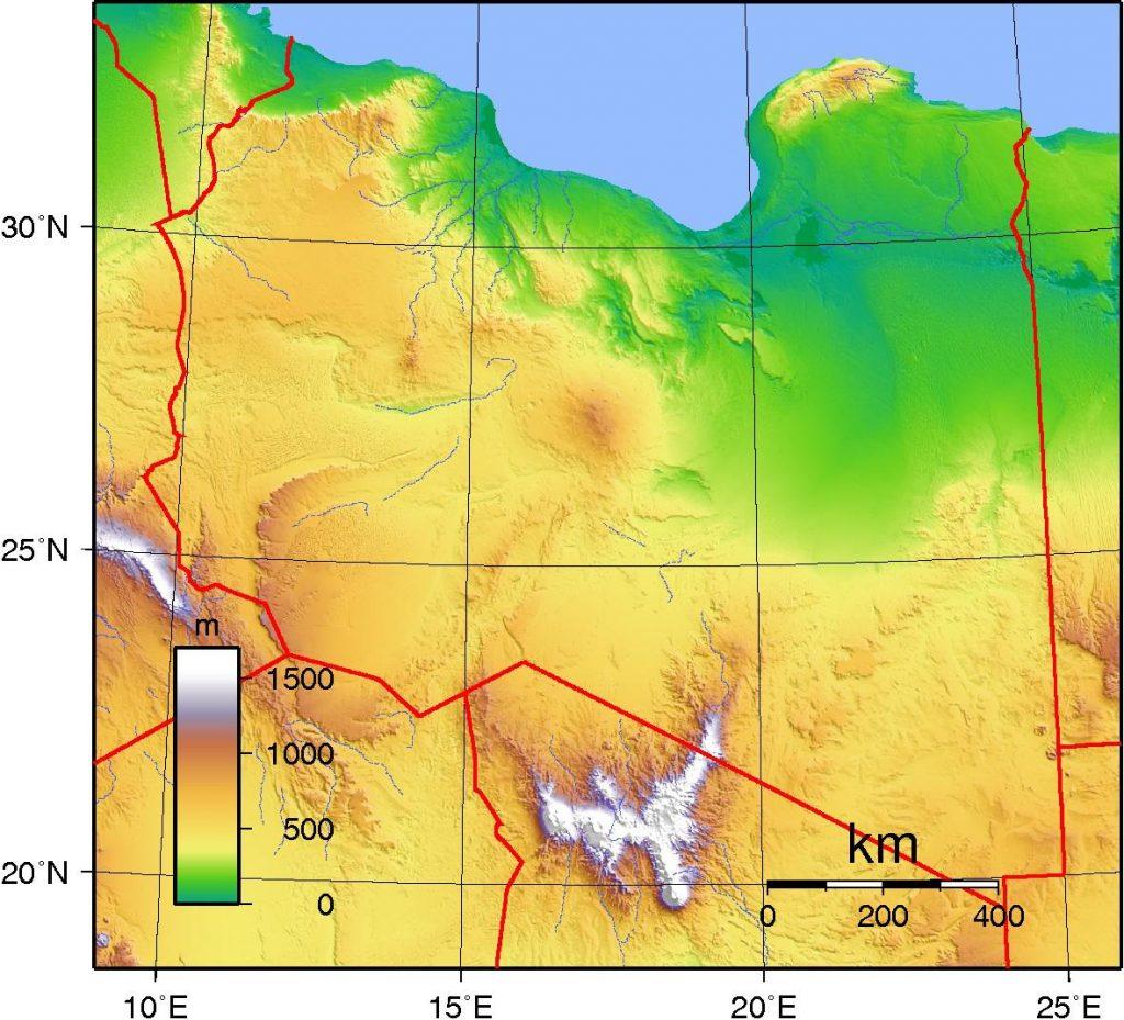 Carte du relief de la Libye