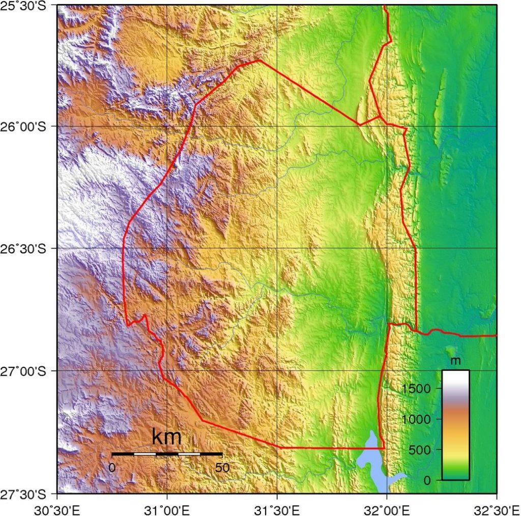 Carte du relief du Swaziland