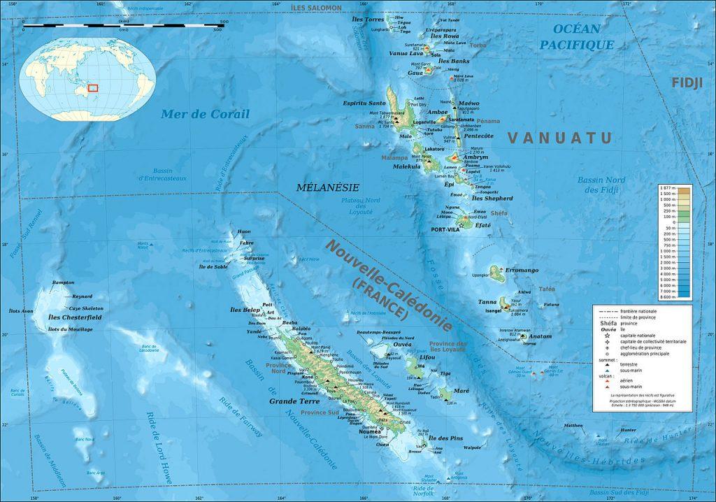 Carte du relief de Vanuatu