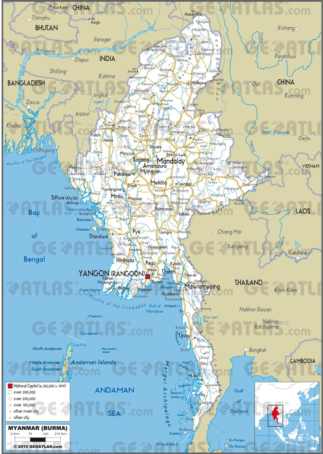 Carte routière de la Birmanie