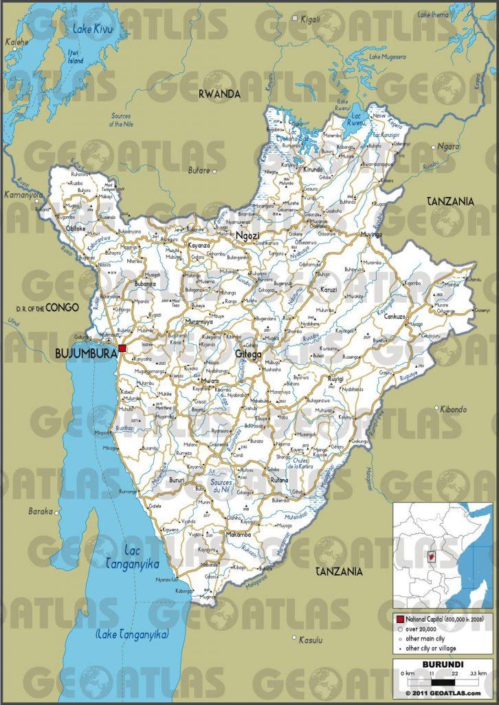 Carte routière du Burundi