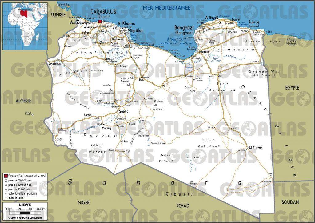 Carte routière de la Libye