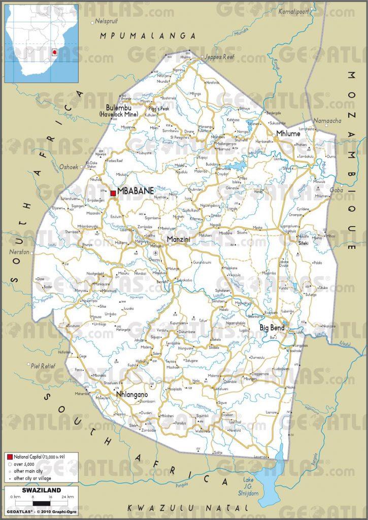 Carte routière du Swaziland