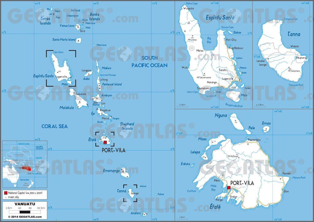 Carte routière de Vanuatu