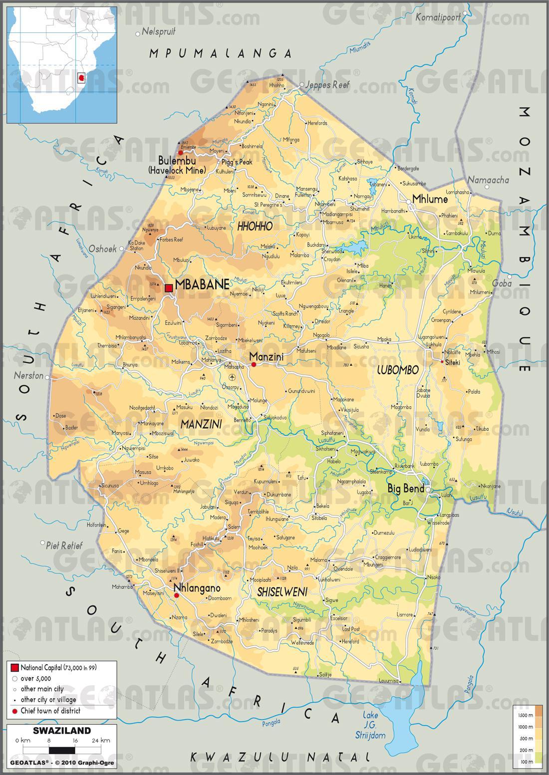 Carte du Swaziland