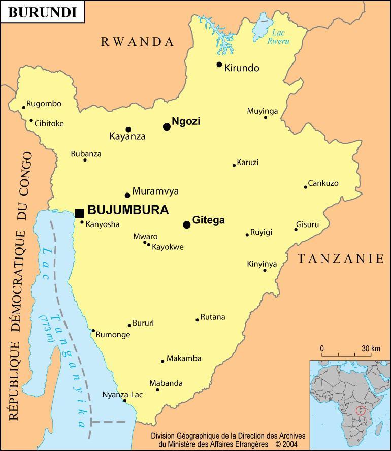 Carte des villes du Burundi