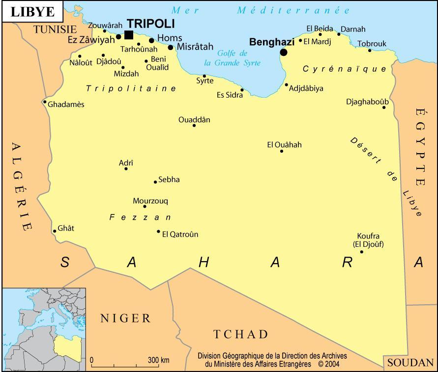 Carte des villes de la Libye