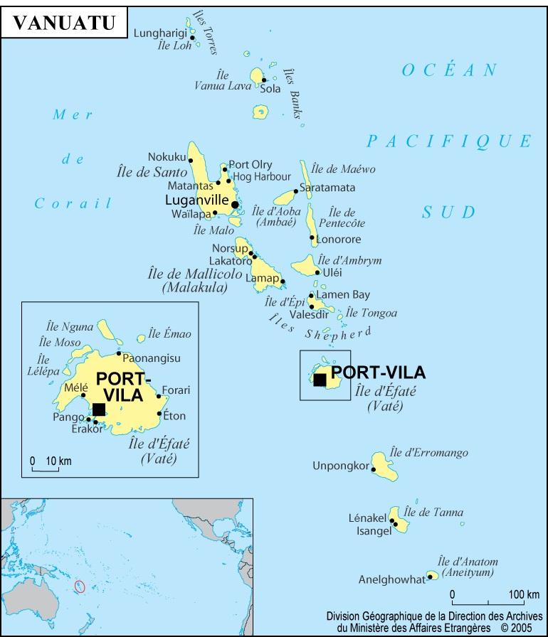 Carte des villes de Vanuatu