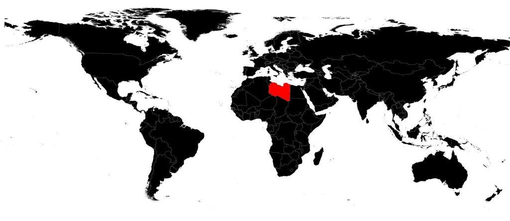 Libye sur une carte du monde