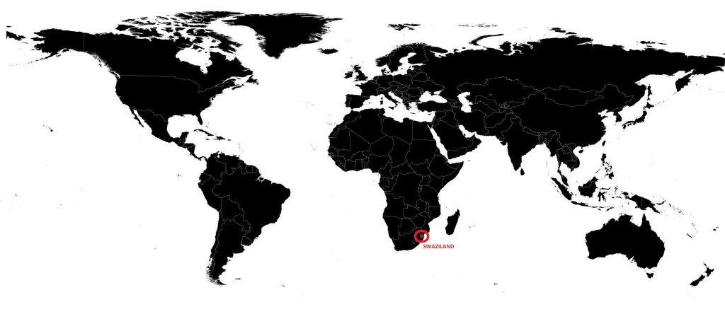 Swaziland sur une carte du monde