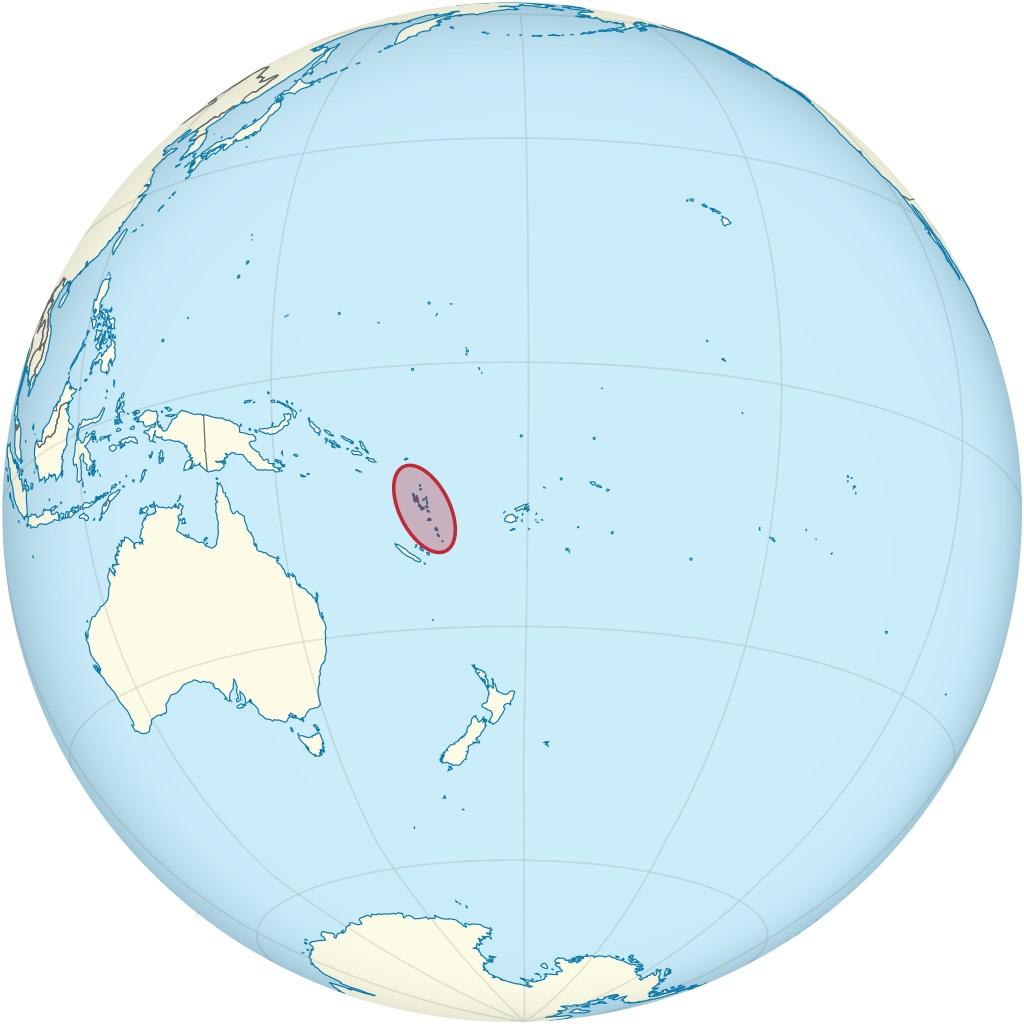 Vanuatu sur une carte de l'Océanie
