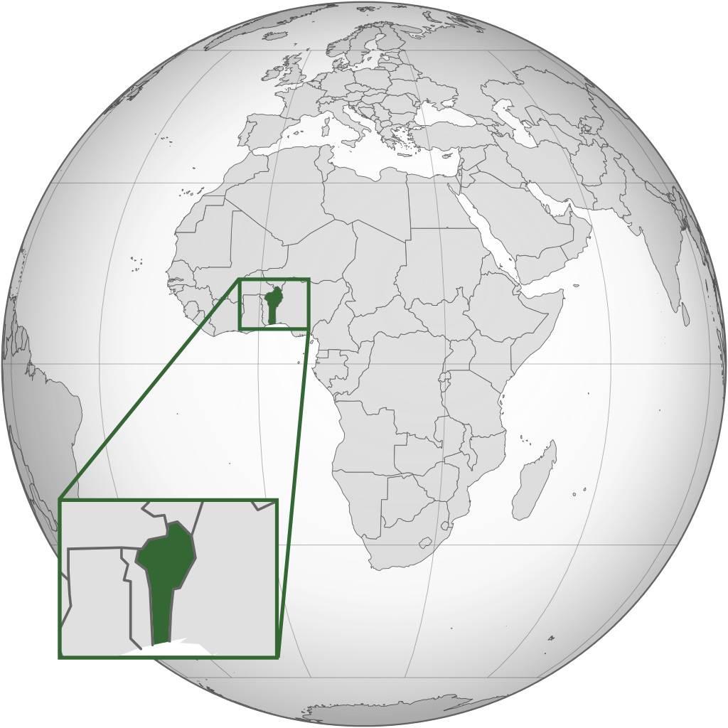 Bénin sur une carte d'Afrique