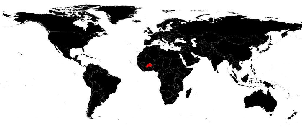 Burkina Faso sur une carte du monde