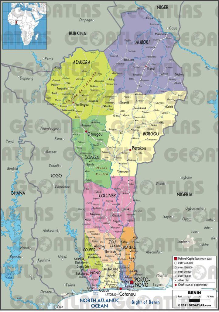 Carte administrative du Bénin