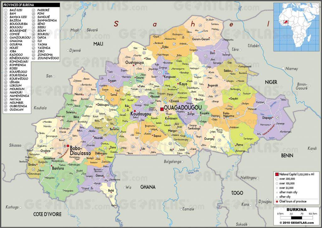 Carte administrative du Burkina Faso