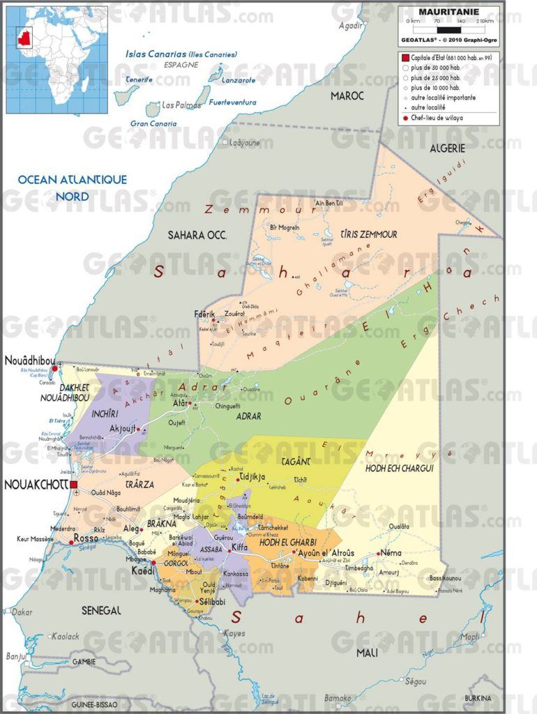 Carte administrative de la Mauritanie