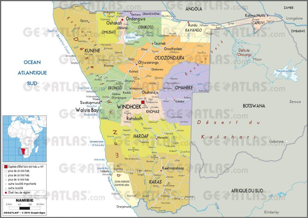 Carte administrative de la Namibie