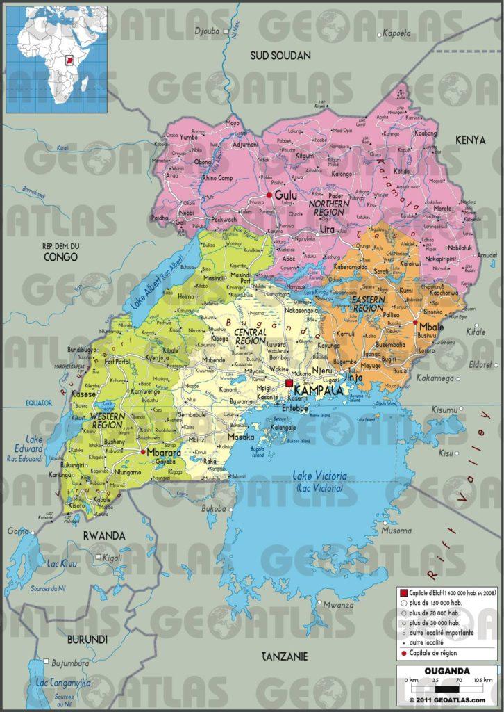 Carte administrative de l'Ouganda