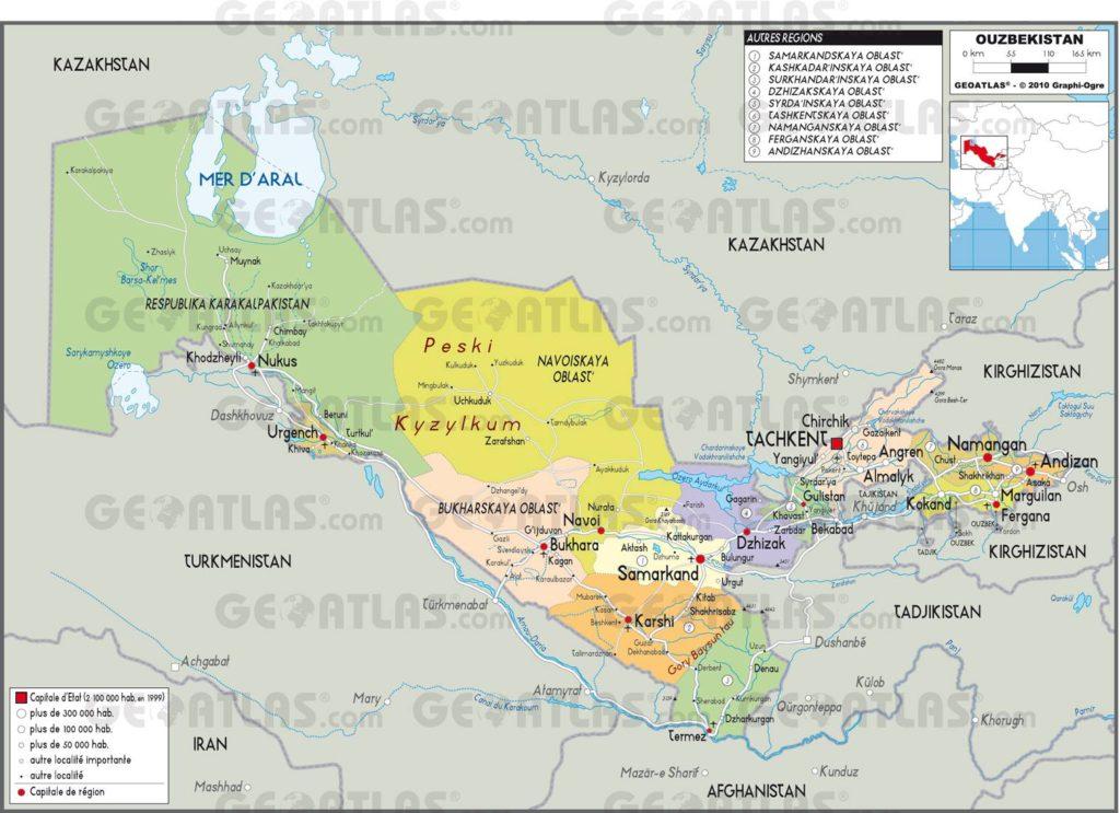 Carte administrative de l'Ouzbékistan