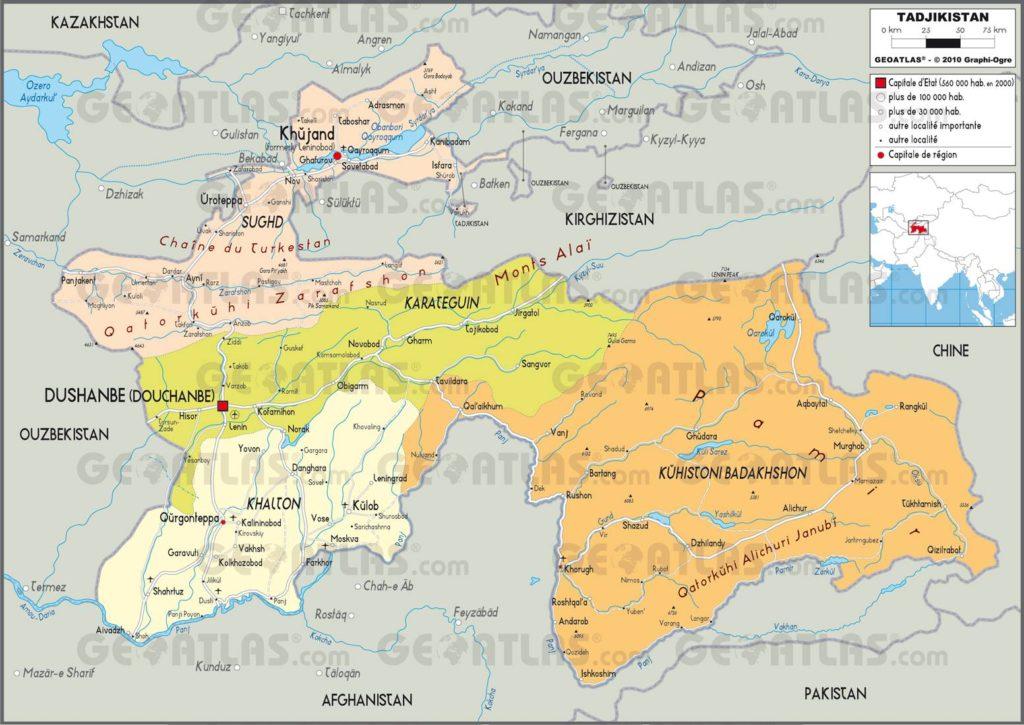 Carte administrative du Tadjikistan