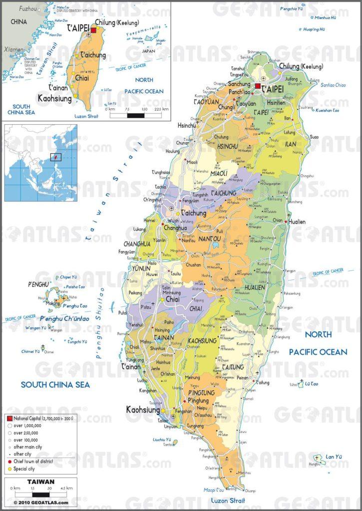 Carte administrative de Taïwan