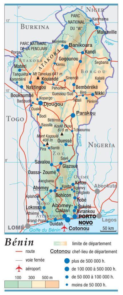 Carte géographique du Bénin