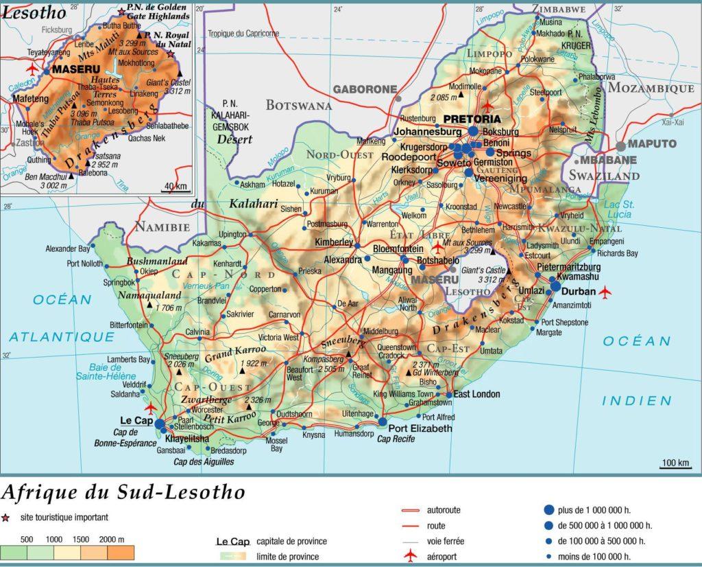 Carte géographique du Lesotho