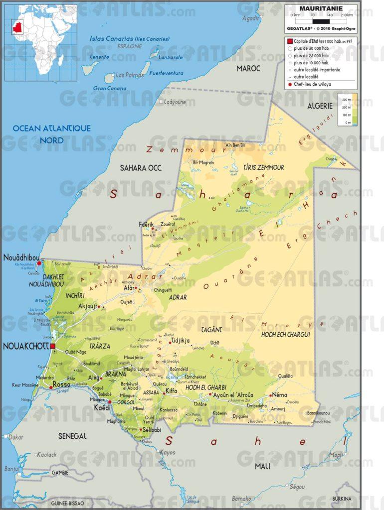 Carte géographique de la Mauritanie