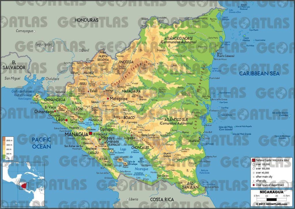 Carte géographique du Nicaragua